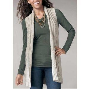 CAbi sleeveless wool blend knit cardigan sweater
